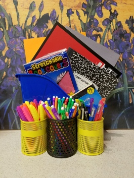 highlighters, pencils, pens, notebooks, book covers, notebooks
