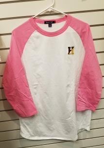 Pink & White Raglan - $15