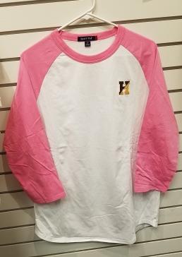Pink White Raglan - $15